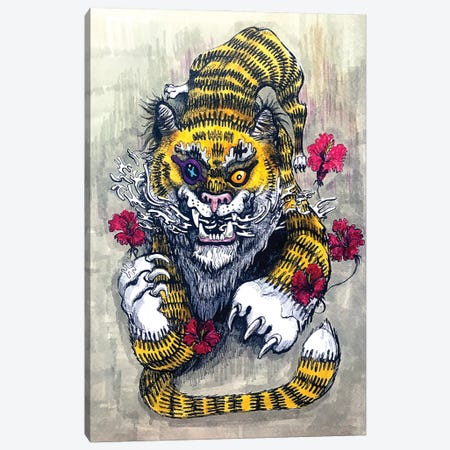 Hypnotiger Canvas Print #ZKN23} by Zoya Koinash Art Print