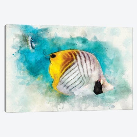 Threadfin Butterflyfish Watercolor Canvas Print #ZLW14} by Christine Zalewski Canvas Print