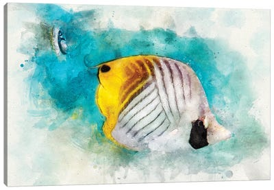 Threadfin Butterflyfish Watercolor Canvas Art Print