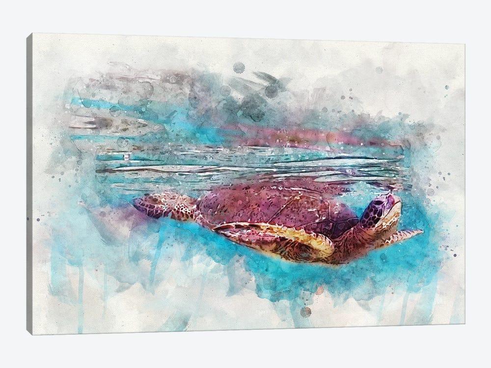 Green Sea Turtle II by Christine Zalewski 1-piece Canvas Art