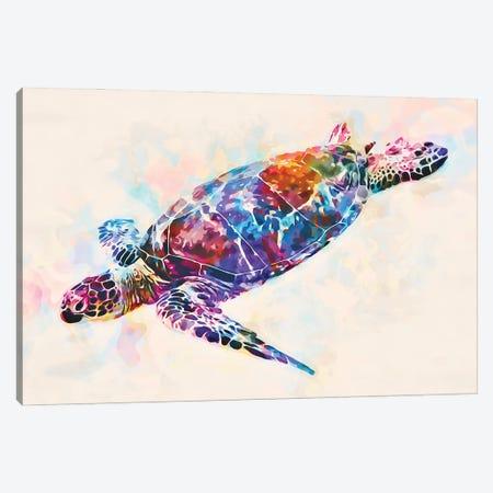 Watercolor Colorful Hawaiian Sea Turtle I Canvas Print #ZLW19} by Christine Zalewski Canvas Wall Art