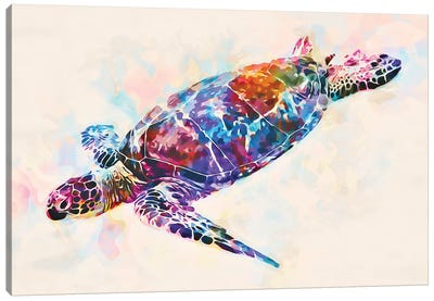 Watercolor Colorful Hawaiian Sea Turtle I Canvas Art Print