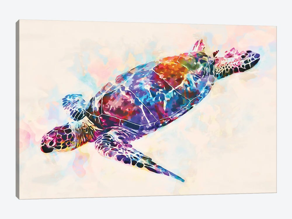 Watercolor Colorful Hawaiian Sea Turtle I by Christine Zalewski 1-piece Canvas Art Print