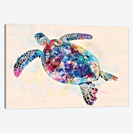 Watercolor Colorful Hawaiian Sea Turtle II Canvas Print #ZLW20} by Christine Zalewski Canvas Print