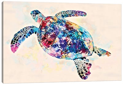 Watercolor Colorful Hawaiian Sea Turtle II Canvas Art Print