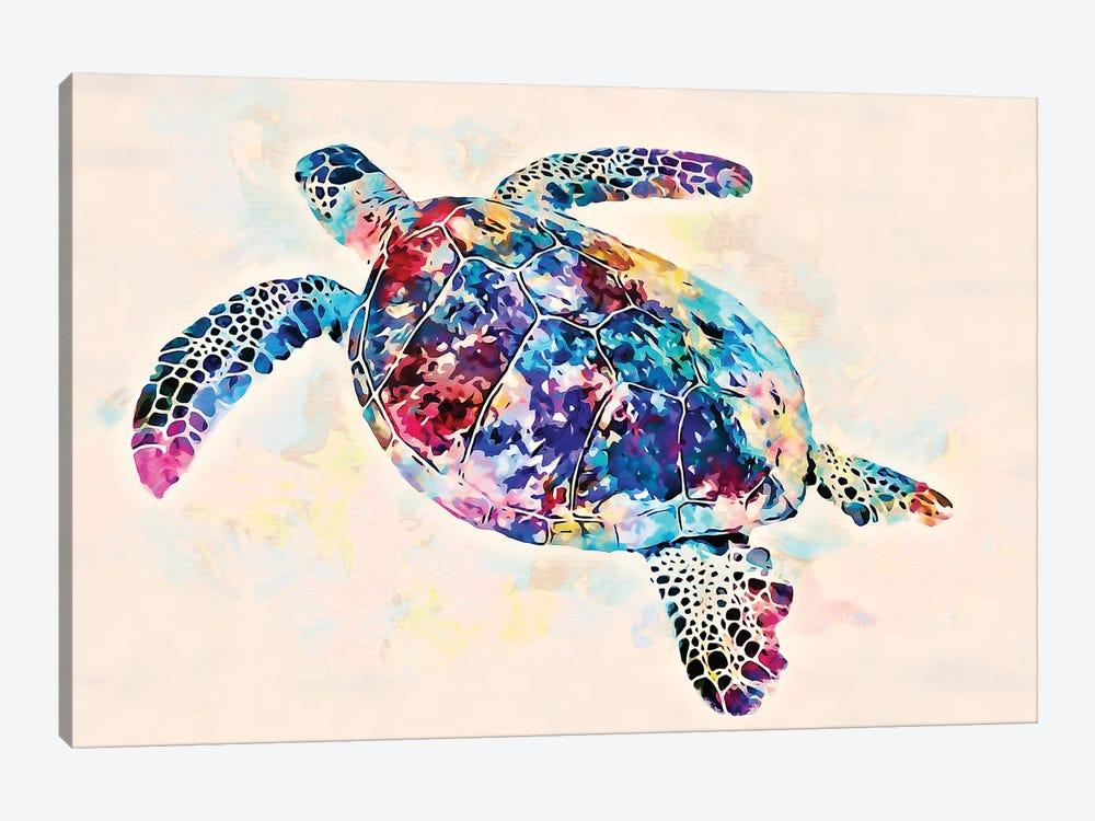 Watercolor Colorful Hawaiian Sea Turtle II by Christine Zalewski 1-piece Canvas Print