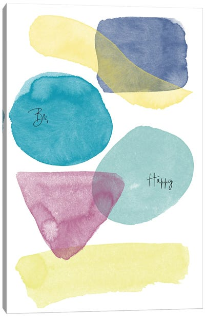 Be Wild Be Happy Watercolor Abstract I Canvas Art Print