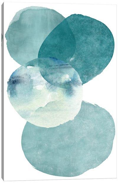 Pools Of Ocean Blue Watercolor Abstract II Canvas Art Print