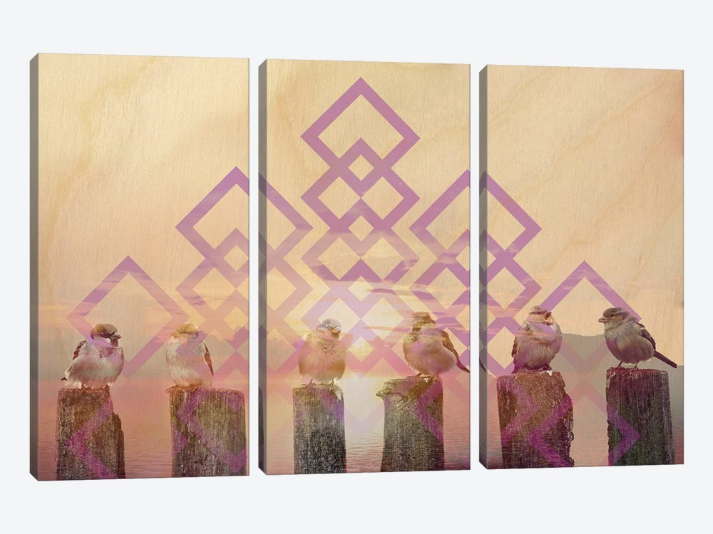 Sunset At The Docks by 5by5collective 3-piece Art Print