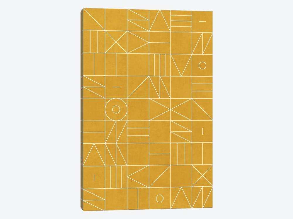 My Favorite Geometric Patterns No.4 - Mustard Yellow by Zoltan Ratko 1-piece Canvas Wall Art