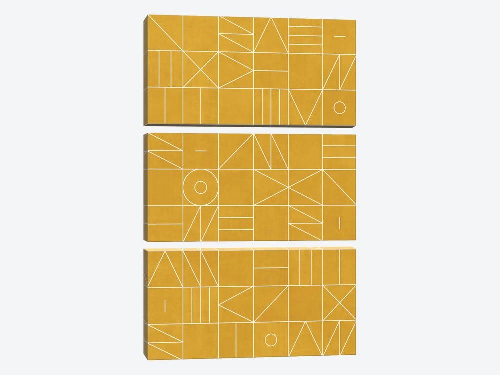 My Favorite Geometric Patterns No.4 - Mustard Yellow by Zoltan Ratko 3-piece Canvas Wall Art