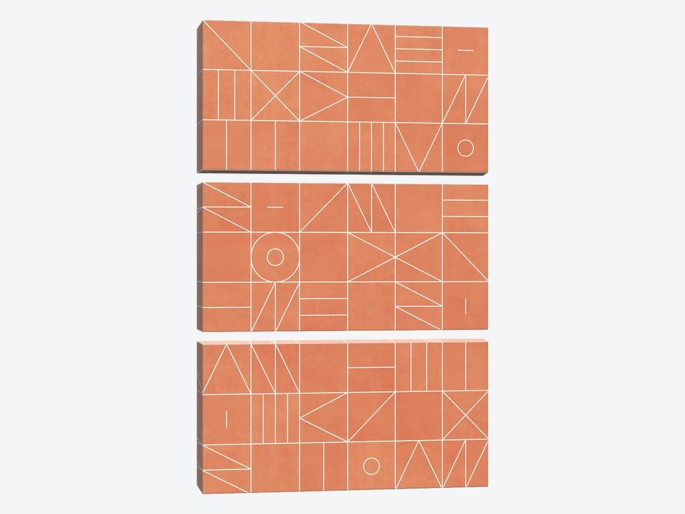 My Favorite Geometric Patterns No.5 - Coral by Zoltan Ratko 3-piece Art Print