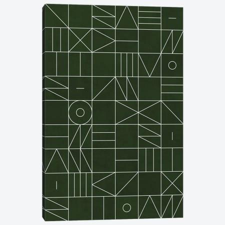 My Favorite Geometric Patterns No.6 - Deep Green Canvas Print #ZRA102} by Zoltan Ratko Canvas Wall Art
