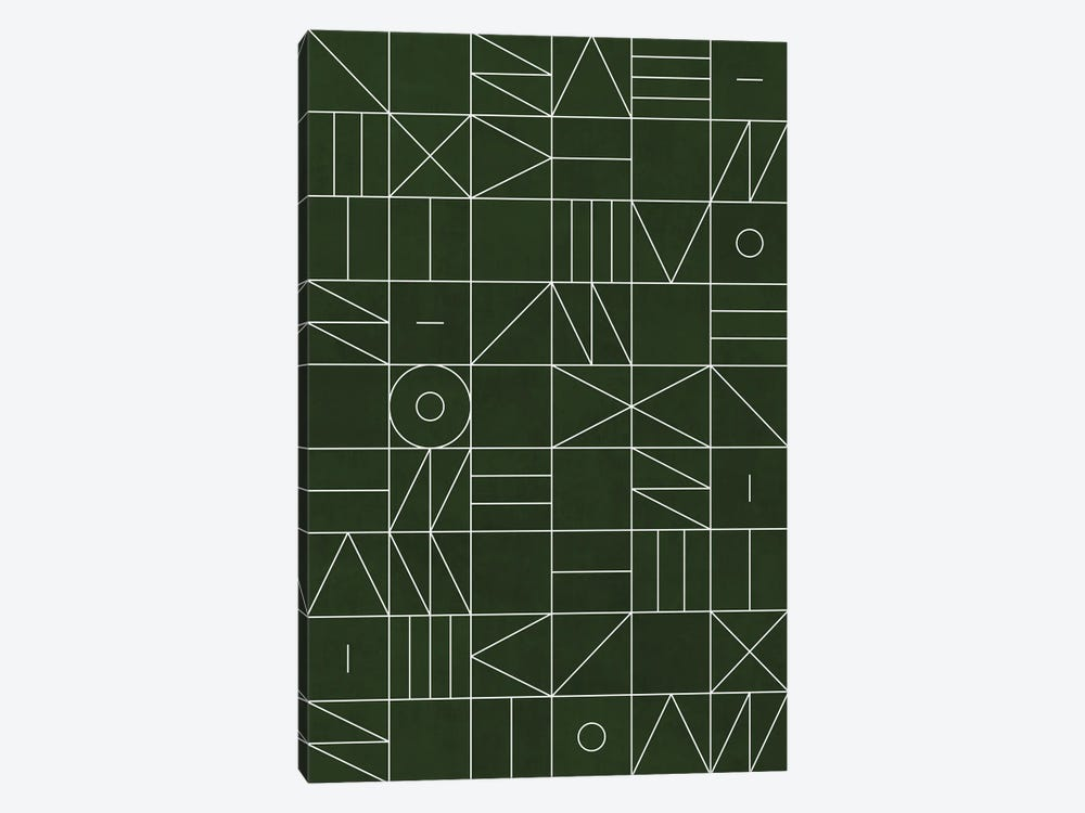 My Favorite Geometric Patterns No.6 - Deep Green by Zoltan Ratko 1-piece Canvas Art