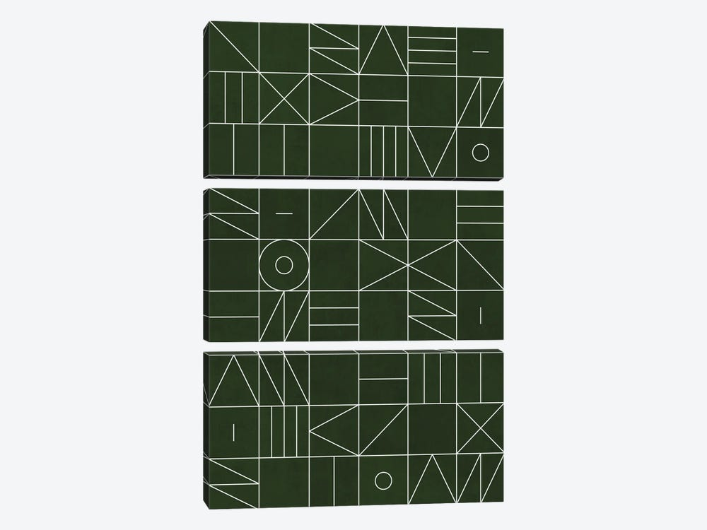 My Favorite Geometric Patterns No.6 - Deep Green by Zoltan Ratko 3-piece Canvas Wall Art