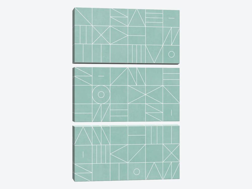 My Favorite Geometric Patterns No.7 - Light Blue by Zoltan Ratko 3-piece Canvas Art Print