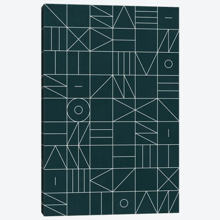 My Favorite Geometric Patterns No.8 - Green Tinted Navy Blue Canvas Print #ZRA104} by Zoltan Ratko Canvas Art Print