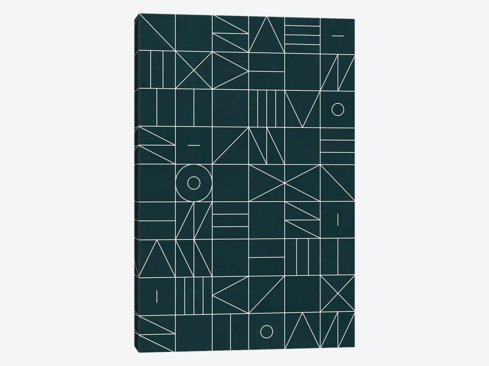 My Favorite Geometric Patterns No.8 - Green Tinted Navy Blue by Zoltan Ratko 1-piece Canvas Art