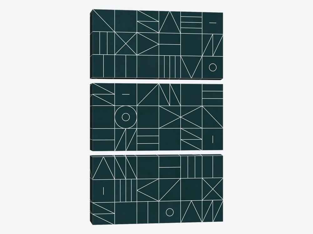 My Favorite Geometric Patterns No.8 - Green Tinted Navy Blue by Zoltan Ratko 3-piece Canvas Artwork