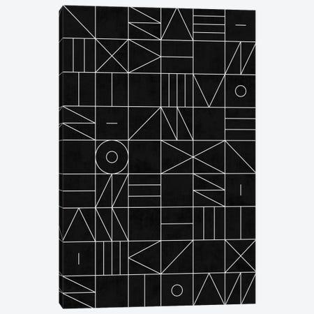 My Favorite Geometric Patterns No.9 - Black Canvas Print #ZRA105} by Zoltan Ratko Art Print