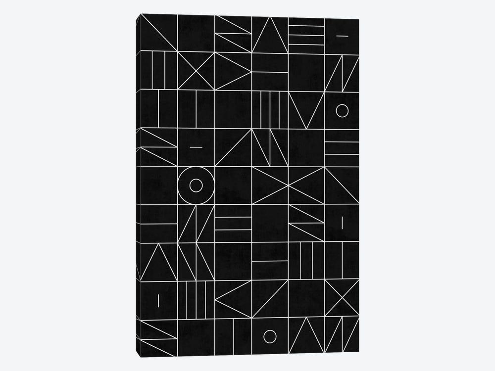 My Favorite Geometric Patterns No.9 - Black by Zoltan Ratko 1-piece Canvas Art Print