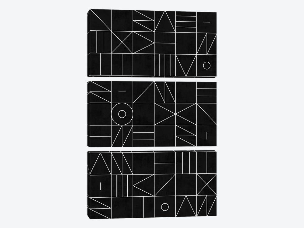 My Favorite Geometric Patterns No.9 - Black by Zoltan Ratko 3-piece Canvas Art Print