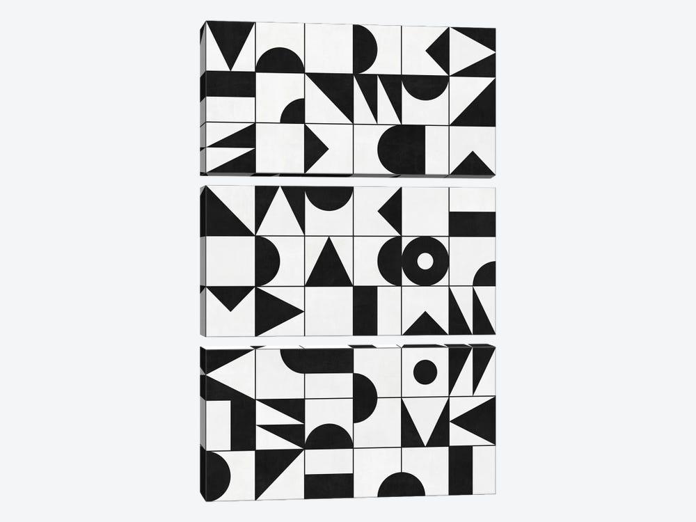 My Favorite Geometric Patterns No.10 - White by Zoltan Ratko 3-piece Canvas Wall Art