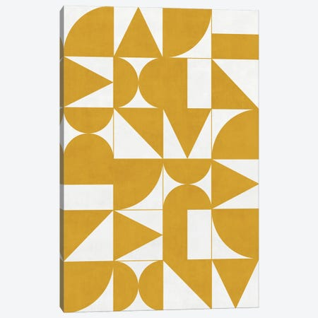 My Favorite Geometric Patterns No.13 - Mustard Yellow Canvas Print #ZRA109} by Zoltan Ratko Canvas Art