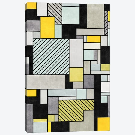Random Concrete Pattern - Yellow, Blue, Grey Canvas Print #ZRA10} by Zoltan Ratko Canvas Art
