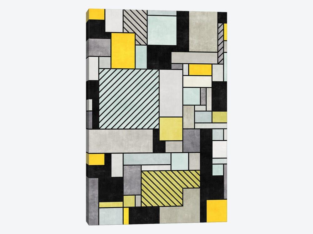 Random Concrete Pattern - Yellow, Blue, Grey by Zoltan Ratko 1-piece Canvas Wall Art