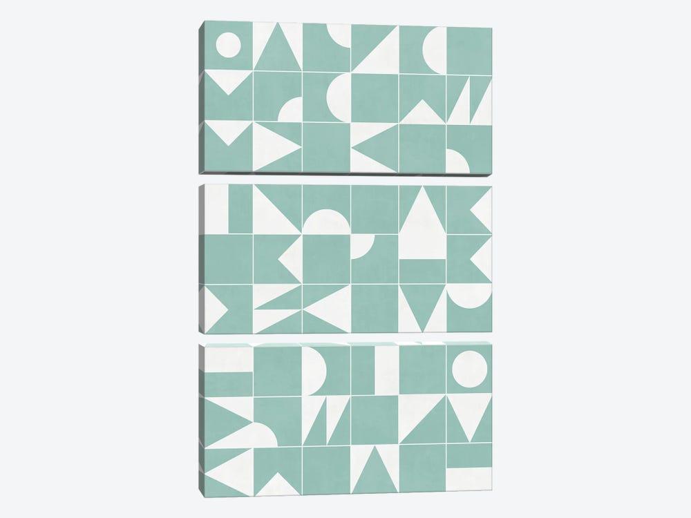 My Favorite Geometric Patterns No.16 - Light Blue by Zoltan Ratko 3-piece Canvas Art Print