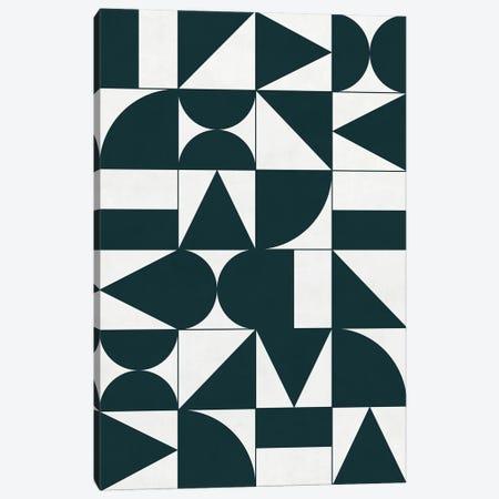 My Favorite Geometric Patterns No.17 - Green Tinted Navy Blue Canvas Print #ZRA113} by Zoltan Ratko Canvas Print