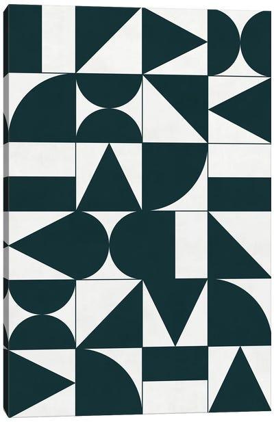 My Favorite Geometric Patterns No.17 - Green Tinted Navy Blue Canvas Art Print