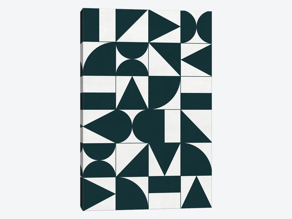My Favorite Geometric Patterns No.17 - Green Tinted Navy Blue by Zoltan Ratko 1-piece Canvas Wall Art