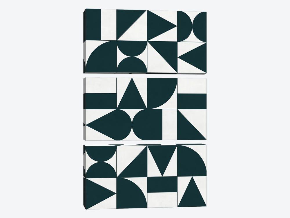 My Favorite Geometric Patterns No.17 - Green Tinted Navy Blue by Zoltan Ratko 3-piece Canvas Artwork