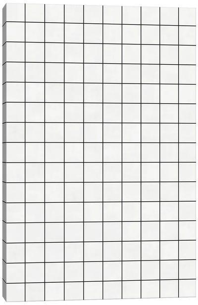 Small Grid Pattern - White Canvas Art Print