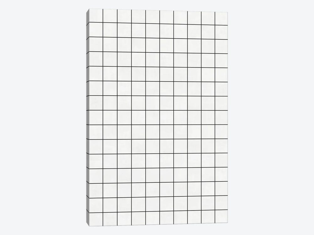 Small Grid Pattern - White by Zoltan Ratko 1-piece Canvas Wall Art