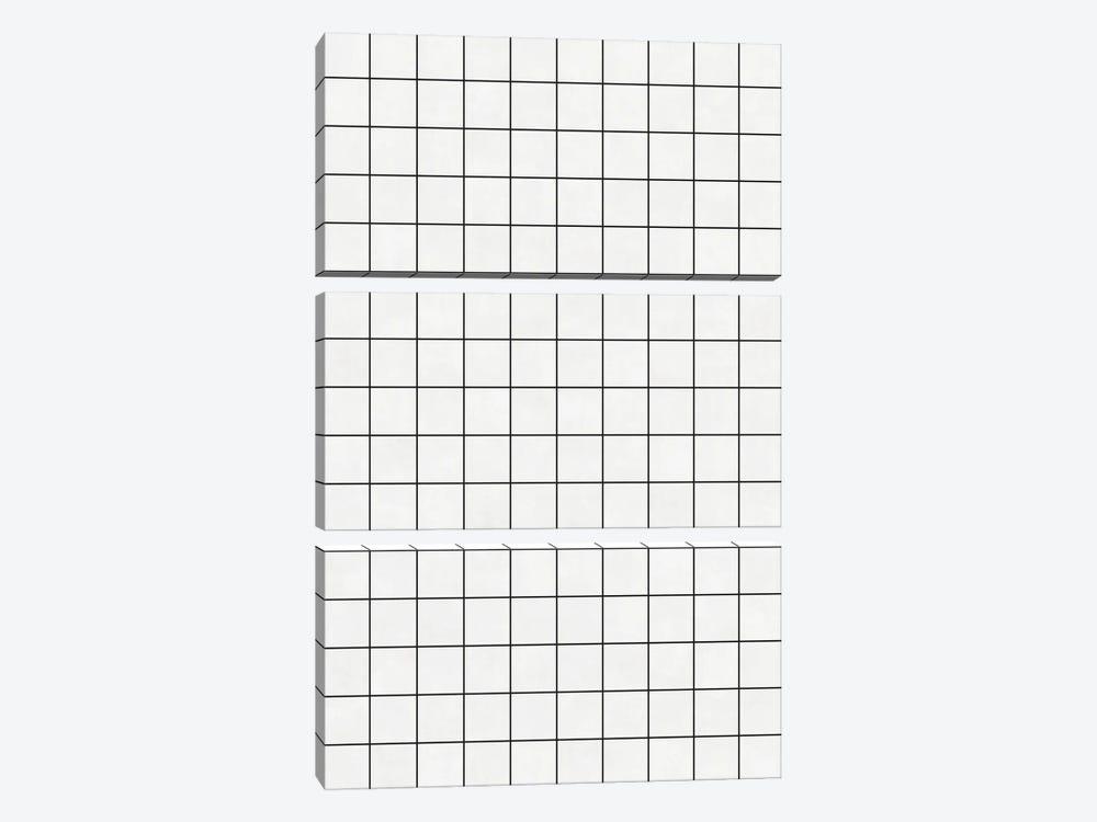 Small Grid Pattern - White by Zoltan Ratko 3-piece Canvas Artwork