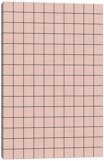 Small Grid Pattern - Pale Pink Canvas Art Print