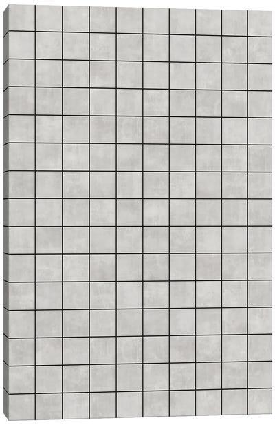 Small Grid Pattern - Grey Canvas Art Print