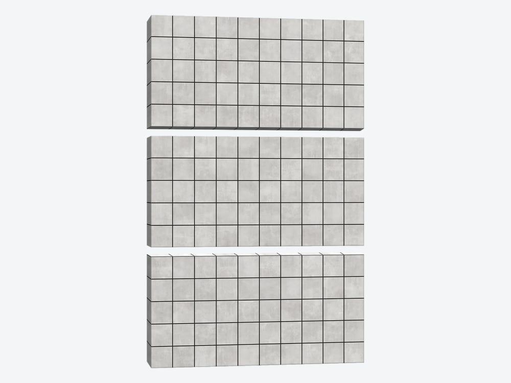 Small Grid Pattern - Grey by Zoltan Ratko 3-piece Canvas Wall Art
