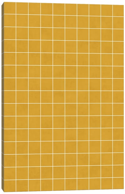 Small Grid Pattern - Mustard Yellow Canvas Art Print