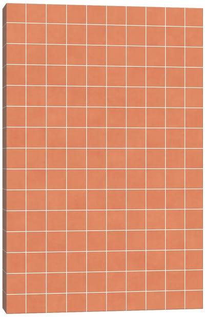 Small Grid Pattern - Coral Canvas Art Print