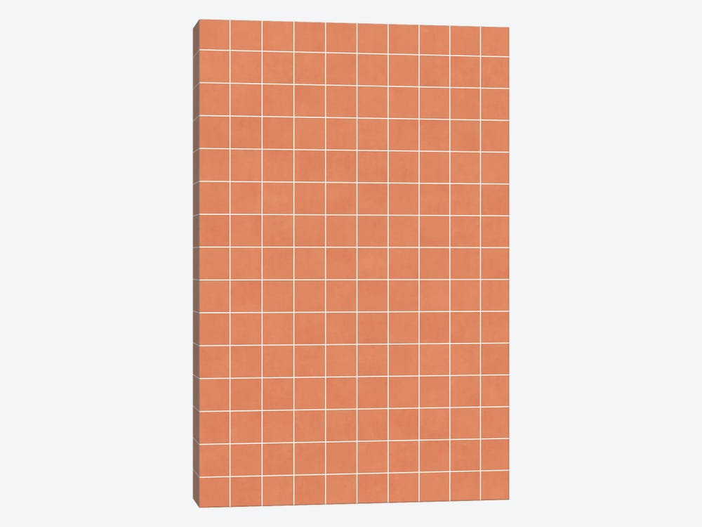 Small Grid Pattern - Coral by Zoltan Ratko 1-piece Canvas Wall Art