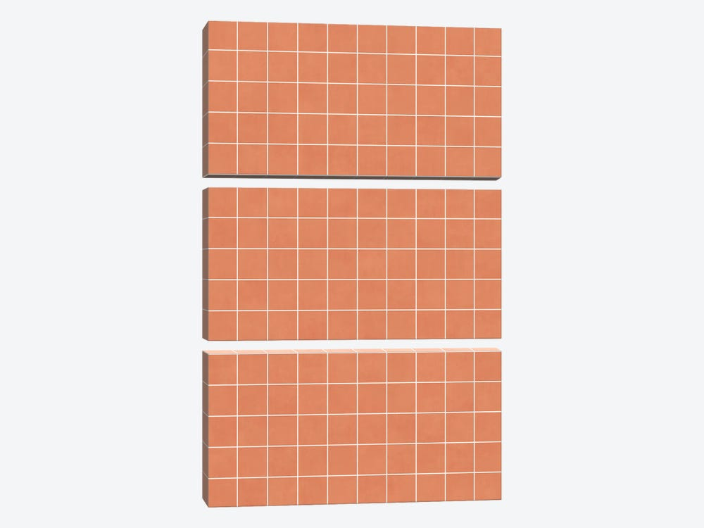 Small Grid Pattern - Coral by Zoltan Ratko 3-piece Canvas Wall Art