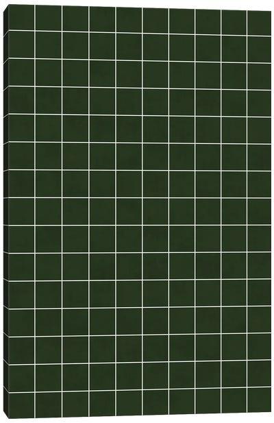 Small Grid Pattern - Deep Green Canvas Art Print