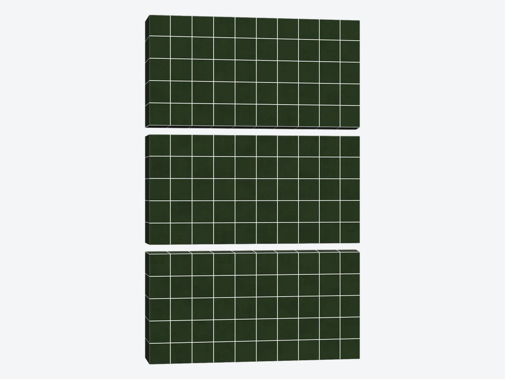 Small Grid Pattern - Deep Green by Zoltan Ratko 3-piece Canvas Wall Art