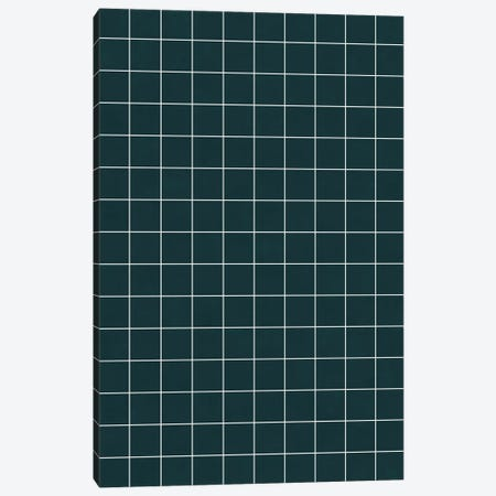 Small Grid Pattern - Green Tinted Navy Blue Canvas Print #ZRA122} by Zoltan Ratko Canvas Artwork