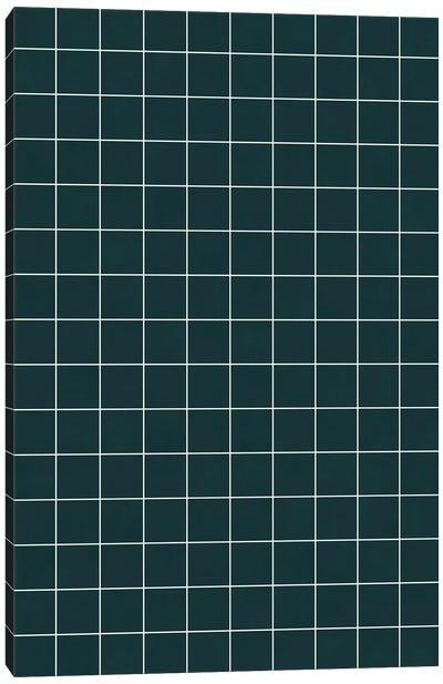Small Grid Pattern - Green Tinted Navy Blue Canvas Art Print
