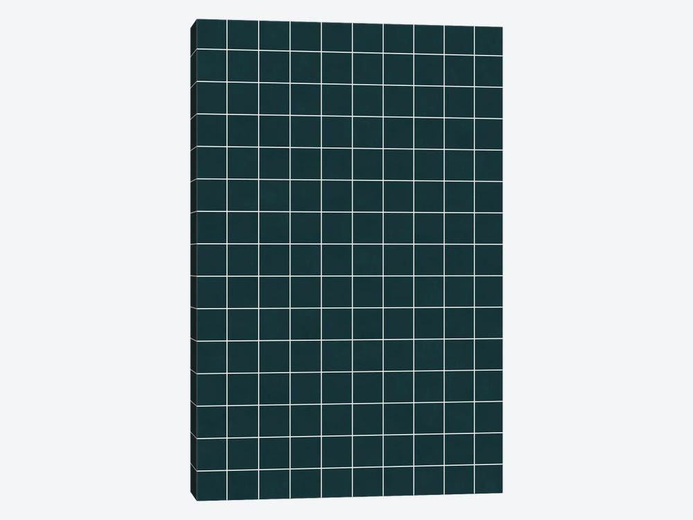 Small Grid Pattern - Green Tinted Navy Blue by Zoltan Ratko 1-piece Canvas Artwork